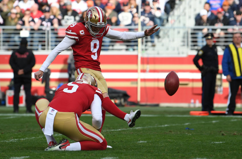 SANTA CLARA, CA - DECEMBER 23: Robbie Gould #9 of the San Francisco 49ers kicks a field goal against the Chicago Bears during their NFL game at Levi's Stadium on December 23, 2018 in Santa Clara, California. (Photo by Thearon W. Henderson/Getty Images)