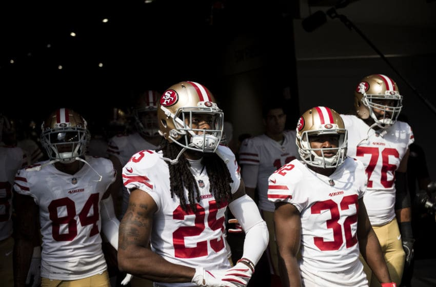 MINNEAPOLIS, MN - SEPTEMBER 09: Members of the San Francisco 49ers line up in the tunnel to take the field before the game against the Minnesota Vikings at U.S. Bank Stadium on September 9, 2018 in Minneapolis, Minnesota. (Photo by Stephen Maturen/Getty Images)