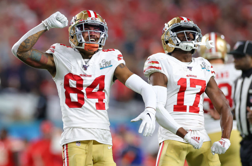 MIAMI, FLORIDA - FEBRUARY 02: Kendrick Bourne #84 of the San Francisco 49ers and Emmanuel Sanders #17 of the San Francisco 49ers react during the third quarter against the Kansas City Chiefs in Super Bowl LIV at Hard Rock Stadium on February 02, 2020 in Miami, Florida. (Photo by Kevin C. Cox/Getty Images)