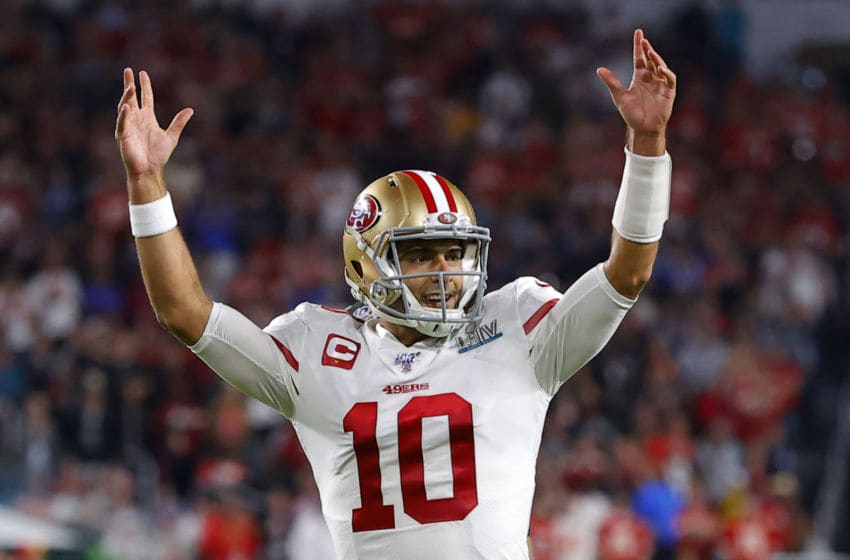 MIAMI, FLORIDA - FEBRUARY 02: Jimmy Garoppolo #10 of the San Francisco 49ers celebrates after a touchdown of his team against the Kansas City Chiefs during the third quarter in Super Bowl LIV at Hard Rock Stadium on February 02, 2020 in Miami, Florida. (Photo by Kevin C. Cox/Getty Images)