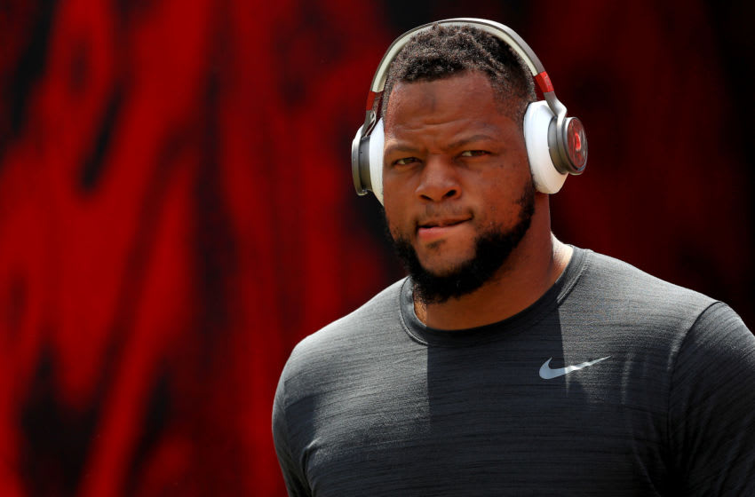 TAMPA, FLORIDA - SEPTEMBER 08: Ndamukong Suh #93 of the Tampa Bay Buccaneers takes the field during a game against the San Francisco 49ers at Raymond James Stadium on September 08, 2019 in Tampa, Florida. (Photo by Mike Ehrmann/Getty Images)