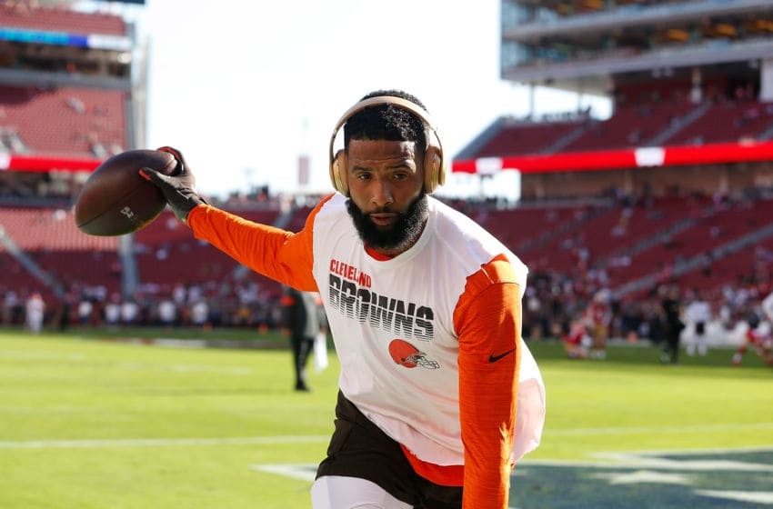 SANTA CLARA, CALIFORNIA - OCTOBER 07: Odell Beckham Jr. #13 of the Cleveland Browns warms up before the game against the San Francisco 49ers at Levi's Stadium on October 07, 2019 in Santa Clara, California. (Photo by Lachlan Cunningham/Getty Images)