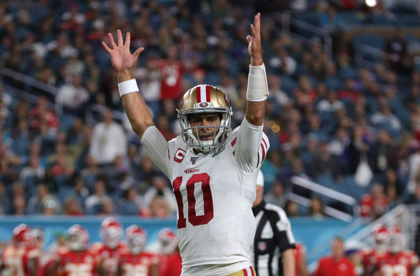 MIAMI, FLORIDA - FEBRUARY 02: Jimmy Garoppolo #10 of the San Francisco 49ers celebrates after a touchdown against the Kansas City Chiefs during the third quarter in Super Bowl LIV at Hard Rock Stadium on February 02, 2020 in Miami, Florida. (Photo by Tom Pennington/Getty Images)