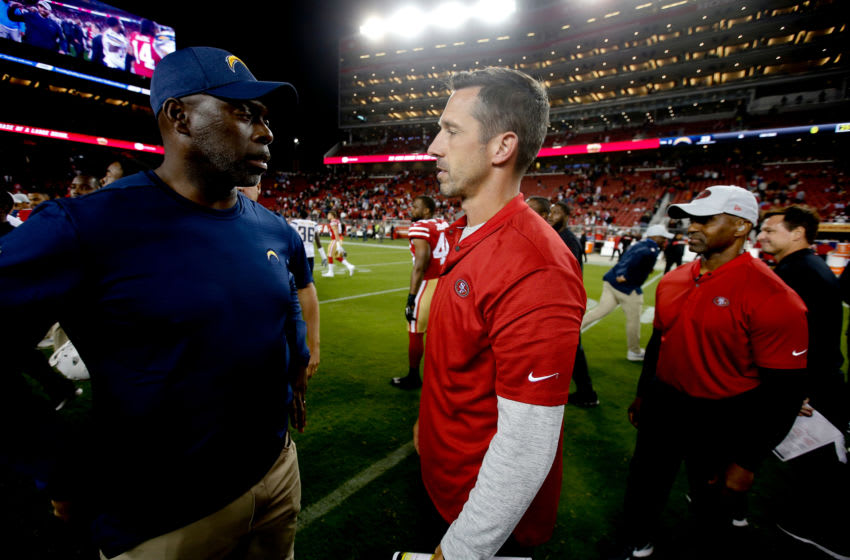 SANTA CLARA, CA - AUGUST 30: Head Coach Anthony Lynn of the Los Angeles Chargers talks with Head Coach Kyle Shanahan of the San Francisco 49ers on the field following the game at Levi Stadium on August 30, 2018 in Santa Clara, California. The Chargers defeated the 49ers 23-21. (Photo by Michael Zagaris/San Francisco 49ers/Getty Images)
