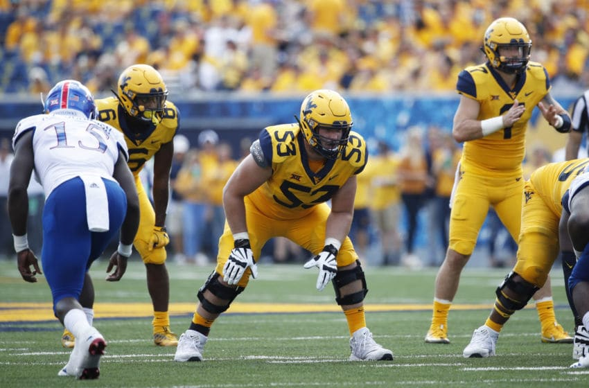 Colton McKivitz #53 of the West Virginia Mountaineers (Photo by Joe Robbins/Getty Images)