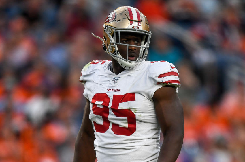 DENVER, CO - AUGUST 19: Defensive end Kentavius Street #95 of the San Francisco 49ers lines up on on defense against the Denver Broncos during a preseason National Football League game at Broncos Stadium at Mile High on August 19, 2019 in Denver, Colorado. (Photo by Dustin Bradford/Getty Images)