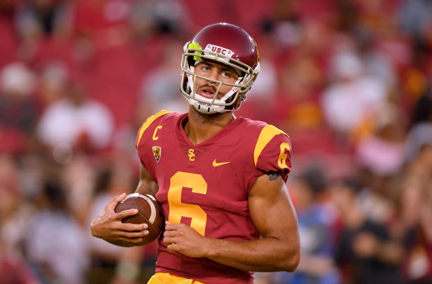 LOS ANGELES, CALIFORNIA - AUGUST 31: Michael Pittman Jr. #6 of the USC Trojans warms up before the game against the Fresno State Bulldogs at Los Angeles Memorial Coliseum on August 31, 2019 in Los Angeles, California. (Photo by Harry How/Getty Images)
