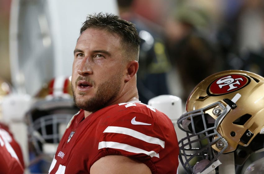 SANTA CLARA, CALIFORNIA - NOVEMBER 11: Joe Staley #74 of the San Francisco 49ers looks on from the bench in the second quarter against the Seattle Seahawks at Levi's Stadium on November 11, 2019 in Santa Clara, California. (Photo by Lachlan Cunningham/Getty Images)