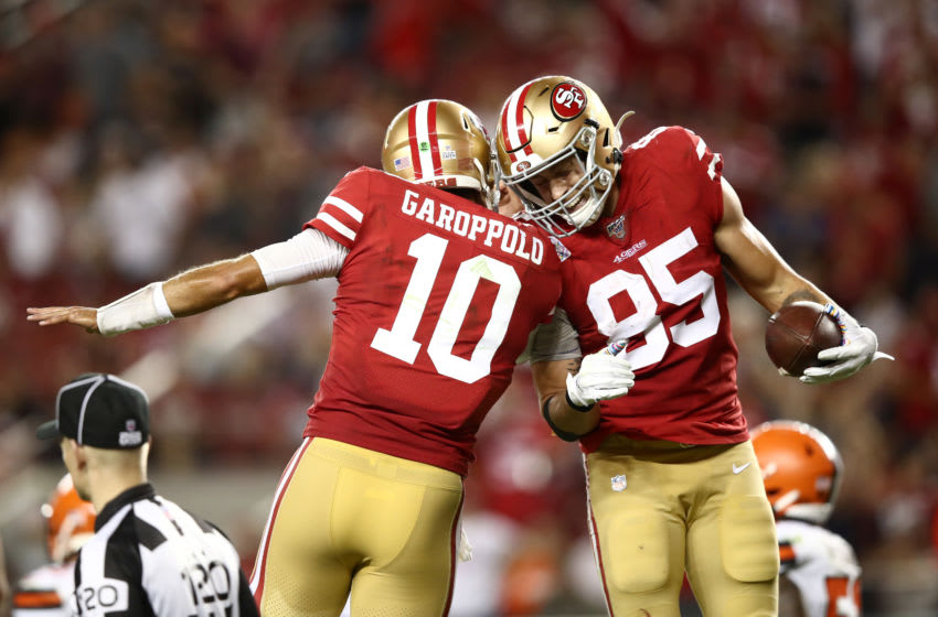 George Kittle #85 and Jimmy Garoppolo #10 of the San Francisco 49ers (Photo by Ezra Shaw/Getty Images)