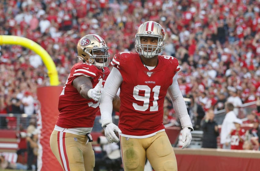 Defensive end Arik Armstead #91 of the San Francisco 49ers with DeForest Buckner #99 (Photo by Lachlan Cunningham/Getty Images)