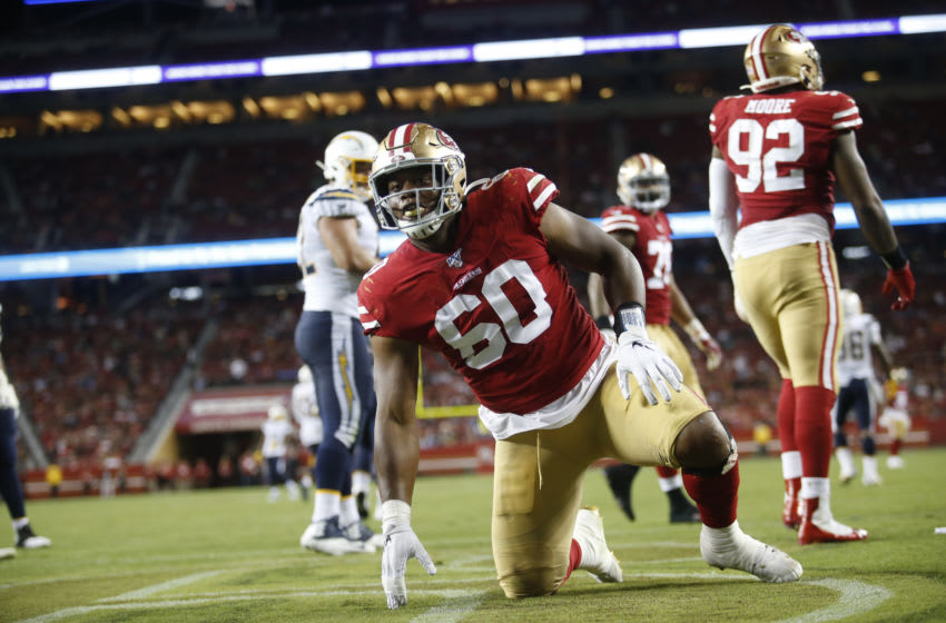 Kevin Givens #60 of the San Francisco 49ers (Photo by Michael Zagaris/San Francisco 49ers/Getty Images)