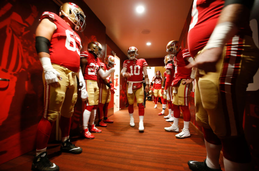 Jimmy Garoppolo #10 of the San Francisco 49ers. (Photo by Michael Zagaris/San Francisco 49ers/Getty Images)
