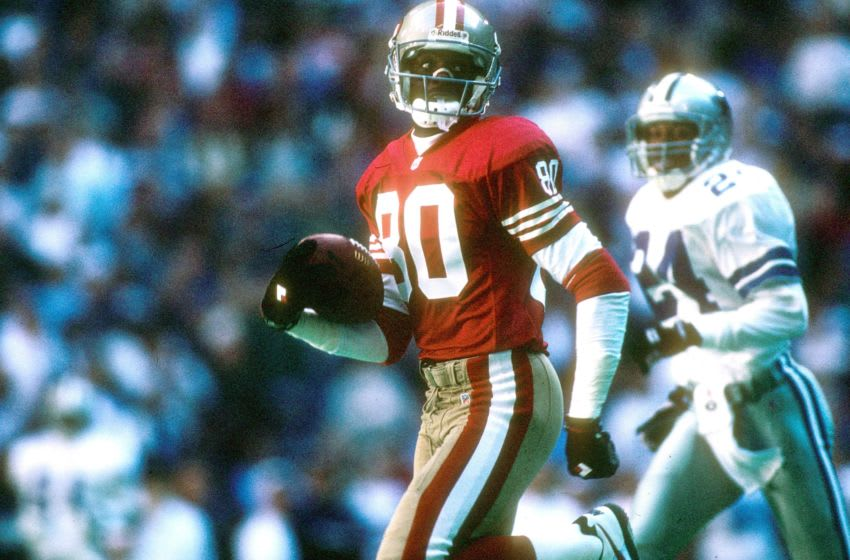 Wide receiver Jerry Rice #80 of the San Francisco 49ers (Photo by Joseph Patronite/Getty Images)