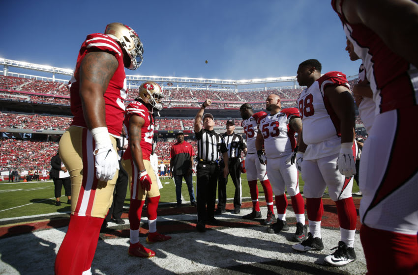Captains of the San Francisco 49ers and the Arizona Cardinals (Photo by Michael Zagaris/San Francisco 49ers/Getty Images)