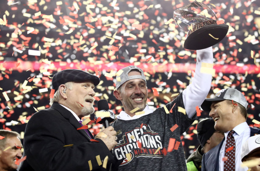 Head coach Kyle Shanahan of the San Francisco 49ers (Photo by Ezra Shaw/Getty Images)