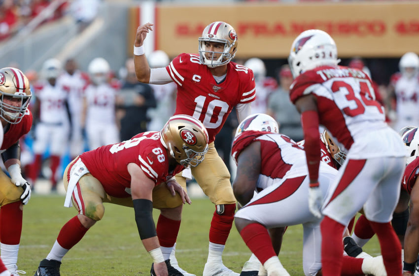 Quarterback Jimmy Garoppolo #10 of the San Francisco 49ers (Photo by Lachlan Cunningham/Getty Images)