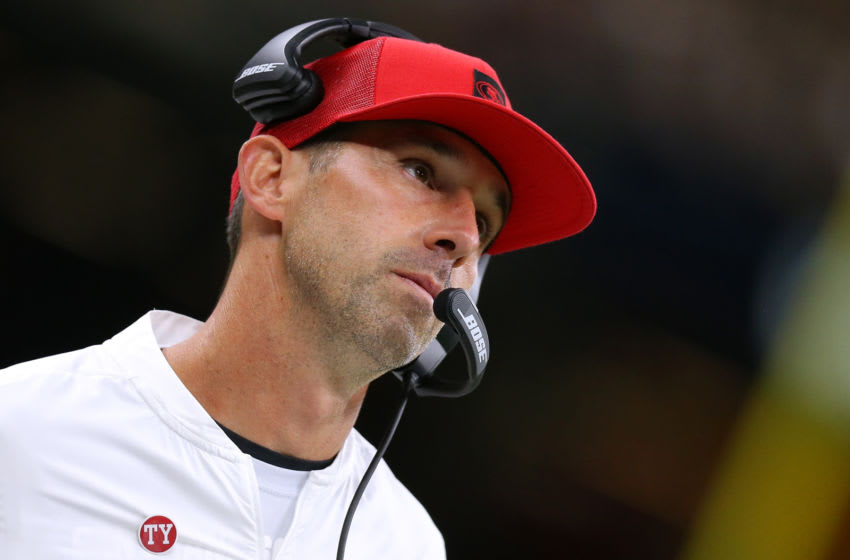 Head coach Kyle Shanahan of the San Francisco 49ers (Photo by Jonathan Bachman/Getty Images)