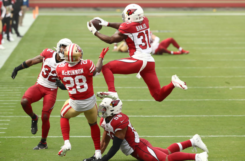 Chris Banjo #31 of the Arizona Cardinals intercepts a pass intended for Jerick McKinnon #28 of the San Francisco 49ers (Photo by Ezra Shaw/Getty Images)