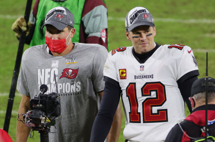 Tom Brady #12 and Rob Gronkowski #87 of the Tampa Bay Buccaneers (Photo by Stacy Revere/Getty Images)