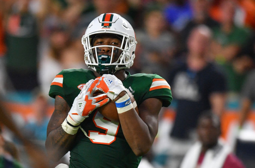 Brevin Jordan #9 of the Miami Hurricanes (Photo by Mark Brown/Getty Images)