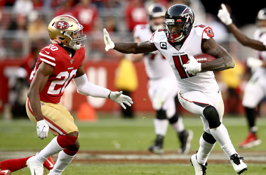 Wide receiver Julio Jones #11 of the Atlanta Falcons against free safety Jimmie Ward #20 of the San Francisco 49ers (Photo by Ezra Shaw/Getty Images)