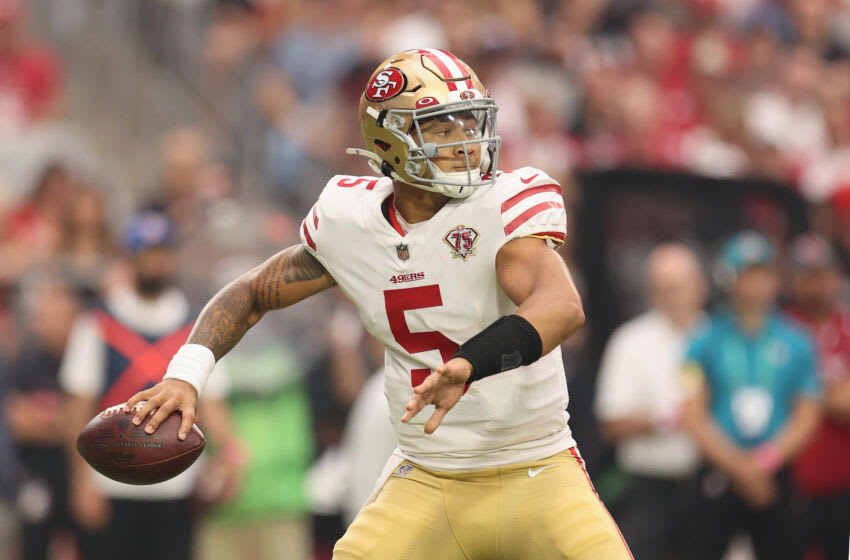 Quarterback Trey Lance #5 of the San Francisco 49ers (Photo by Christian Petersen/Getty Images)
