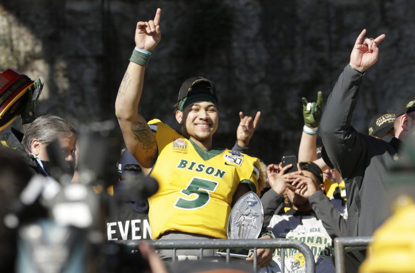 North Dakota State Bison quarterback Trey Lance (5) Mandatory Credit: Tim Heitman-USA TODAY Sports