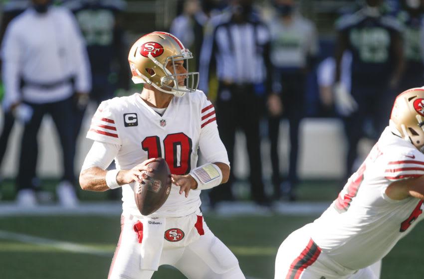 San Francisco 49ers quarterback Jimmy Garoppolo (10) Credit: Joe Nicholson-USA TODAY Sports