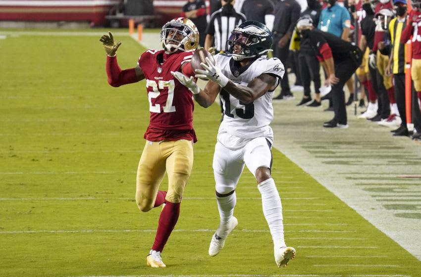 Philadelphia Eagles wide receiver Travis Fulgham (13) against San Francisco 49ers cornerback Dontae Johnson (27) Mandatory Credit: Kyle Terada-USA TODAY Sports