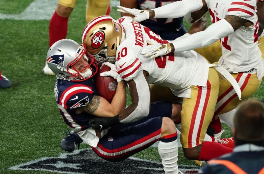 New England Patriots wide receiver Gunner Olszewski (80) tackled by San Francisco 49ers cornerback Ken Webster (40) Mandatory Credit: David Butler II-USA TODAY Sports