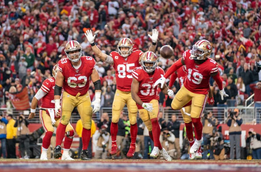 San Francisco 49ers offensive guard Ben Garland (63), tight end George Kittle (85), running back Raheem Mostert (31), and wide receiver Deebo Samuel (19) Mandatory Credit: Kyle Terada-USA TODAY Sports