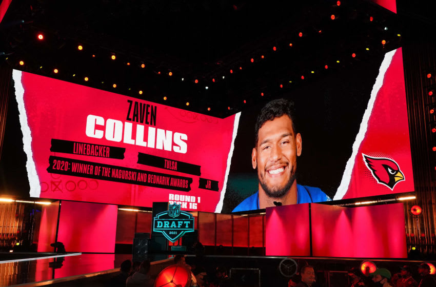 Tulsa Golden Hurricane linebacker Zaven Collins selected pick by the Arizona Cardinals during the 2021 NFL Draft Mandatory Credit: Kirby Lee-USA TODAY Sports