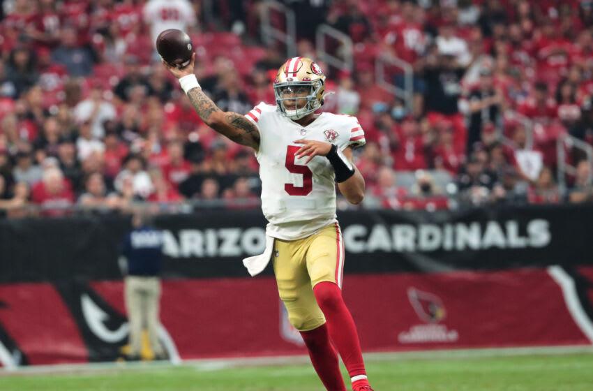 San Francisco 49ers quarterback Trey Lance (5) Mandatory Credit: Michael Chow-USA TODAY Sports