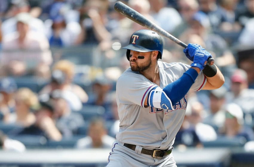 NEW YORK, NY - AUGUST 12: Joey Gallo #13 of the Texas Rangers in action against the New York Yankees at Yankee Stadium on August 12, 2018 in the Bronx borough of New York City. The Yankees defeated the Rangers 7-2. (Photo by Jim McIsaac/Getty Images)