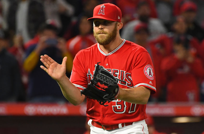 ANAHEIM, CA - APRIL 05: Cody Allen #37 of the Los Angeles Angels of Anaheim reacts after earning a save in the ninth inning of the game against the Texas Rangers at Angel Stadium of Anaheim on April 5, 2019 in Anaheim, California. (Photo by Jayne Kamin-Oncea/Getty Images)