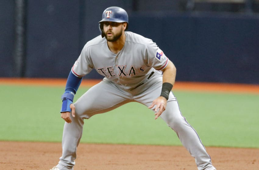 Joey Gallo of the Texas Rangers running the bases in game (Photo by Joseph Garnett Jr. /Getty Images)