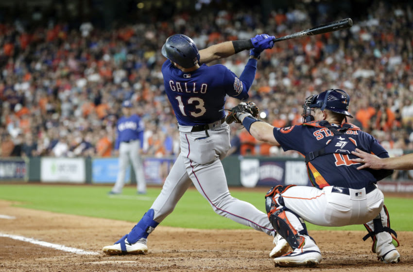 Joey Gallo of the Texas Rangers strikes out in the eighth inning against the Houston Astros. (Photo by Tim Warner/Getty Images)