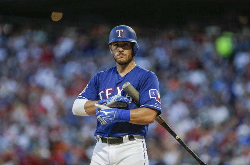 ARLINGTON, TX - JULY 11: Jeff Mathis #2 of the Texas Rangers prepares to bat during the third inning of a baseball game against the Houston Astros at Globe Life Park July 11, 2019 in Arlington, Texas. Texas won 5-0. (Photo by Brandon Wade/Getty Images)