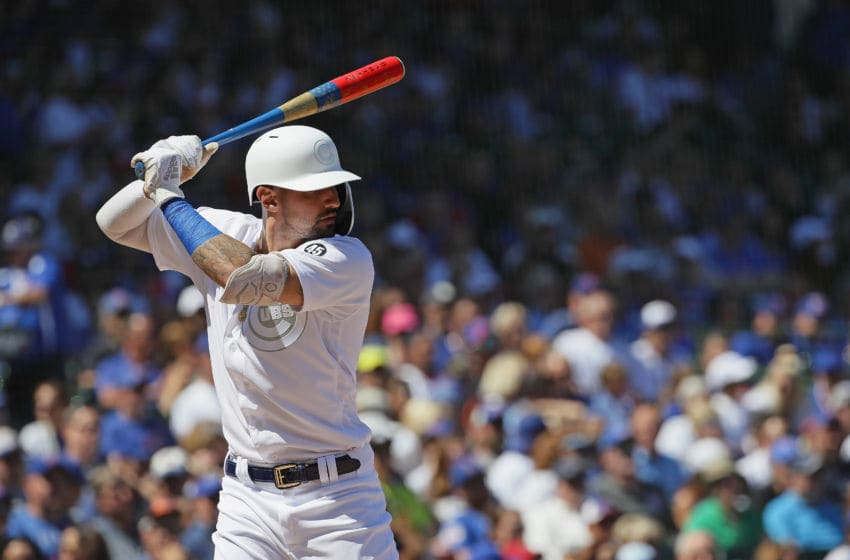 CHICAGO, ILLINOIS - AUGUST 24: Nicholas Castellanos #6 of the Chicago Cubs bats against the Washington Nationals at Wrigley Field on August 24, 2019 in Chicago, Illinois. (Photo by Jonathan Daniel/Getty Images)
