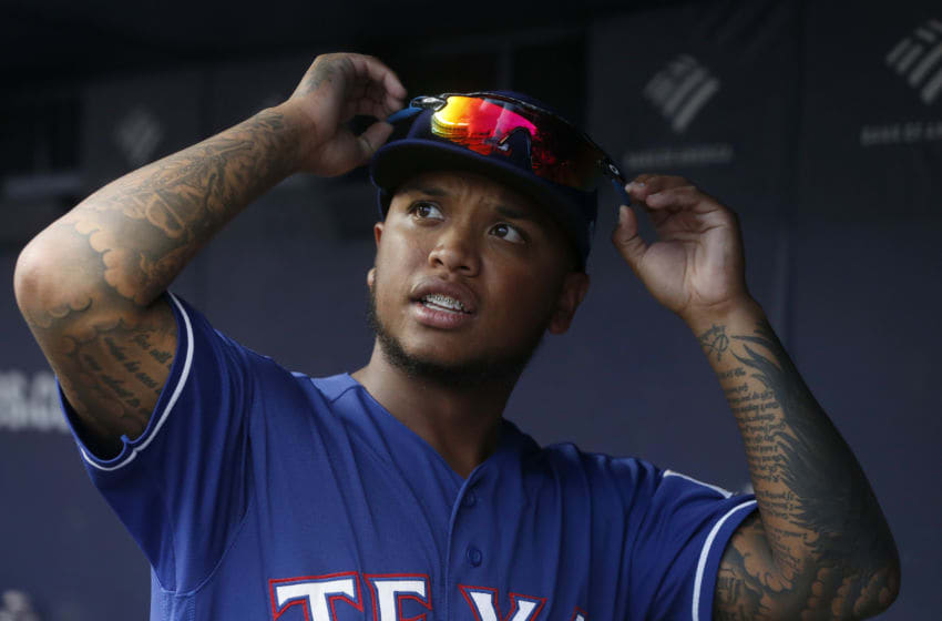 NEW YORK, NEW YORK - SEPTEMBER 04: Willie Calhoun #5 of the Texas Rangers before a game against the New York Yankees at Yankee Stadium on September 04, 2019 in New York City. The Yankees defeated the Rangers 4-1. (Photo by Jim McIsaac/Getty Images)