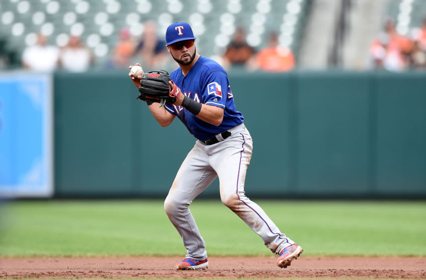 BALTIMORE, MD - SEPTEMBER 08: Isiah Kiner-Falefa #9 of the Texas Rangers throws the ball to first base against the Baltimore Orioles at Oriole Park at Camden Yards on September 8, 2019 in Baltimore, Maryland. (Photo by G Fiume/Getty Images)