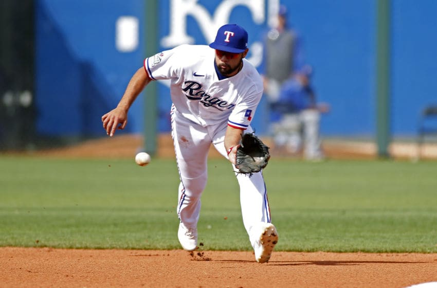 Texas Rangers Isiah Kiner-Falefa is fighting for a starting role entering the 2020 season (Photo by Ralph Freso/Getty Images)