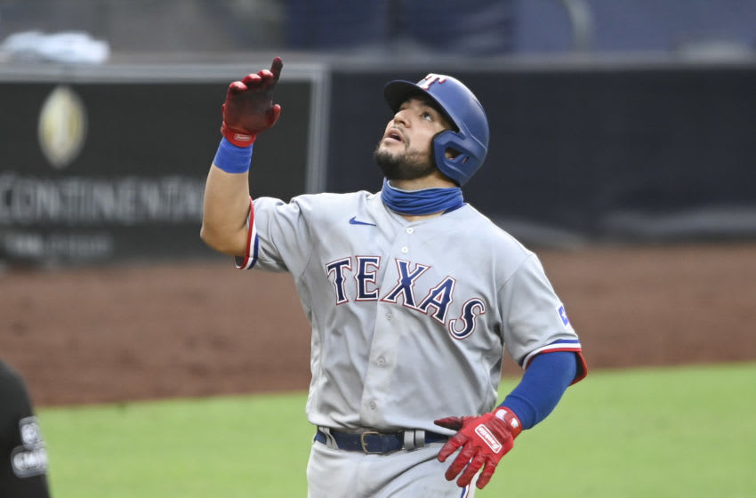 Texas Rangers catcher Jose Trevino could join a number of top young players who get a long-term MLB look this season(Photo by Denis Poroy/Getty Images)