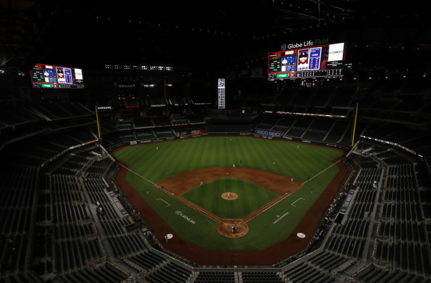A general view of play between the Colorado Rockies and the Texas Rangers on Opening Day at Globe Life Field on July 24, 2020 in Arlington, Texas. The 2020 season had been postponed since March due to the COVID-19 pandemic. (Photo by Ronald Martinez/Getty Images)