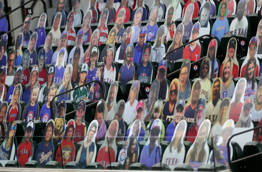 ARLINGTON, TEXAS - JULY 26: A view of photos of fans as the Texas Rangers take on the Colorado Rockies at Globe Life Field on July 26, 2020 in Arlington, Texas. (Photo by Tom Pennington/Getty Images)
