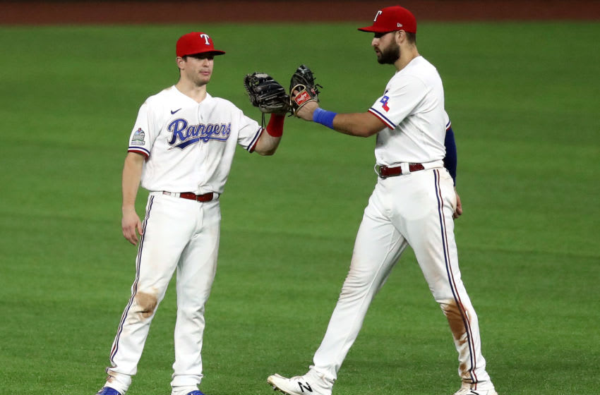 Texas Rangers outfielders Joey Gallo and Nick Solak (Photo by Ronald Martinez/Getty Images)