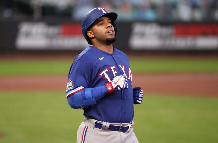 SEATTLE, WASHINGTON - SEPTEMBER 04: Elvis Andrus #1 of the Texas Rangers reacts after hitting a ground out in the fifth inning against the Seattle Mariners at T-Mobile Park on September 04, 2020 in Seattle, Washington. (Photo by Abbie Parr/Getty Images)