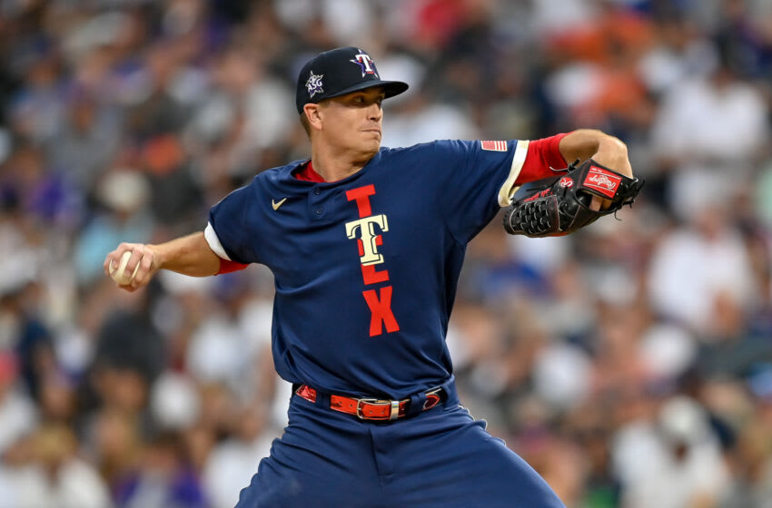 DENVER, CO - JULY 13: Kyle Gibson #44 of the Texas Rangers pitches during the 91st MLB All-Star Game at Coors Field on July 13, 2021 in Denver, Colorado.(Photo by Dustin Bradford/Getty Images)