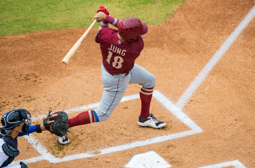 AMARILLO, TEXAS - JULY 25: Infielder Josh Jung #18 of the Frisco RoughRiders hits the ball during the game against the Amarillo Sod Poodles at HODGETOWN Stadium on July 25, 2021 in Amarillo, Texas. (Photo by John E. Moore III/Getty Images)