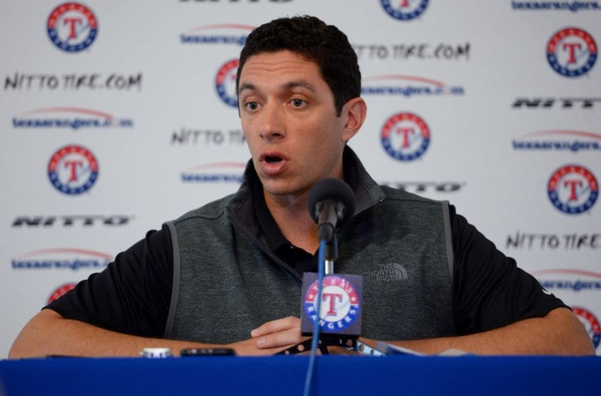 Texas Rangers GM Jon Daniels will make club's first round pick Wednesday night in 2020 MLB Draft (Photo by Masterpress/Getty Images)